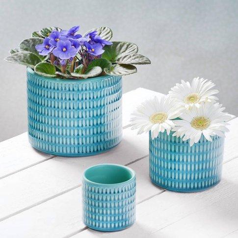 Three Blue Ceramic Planters, Blue