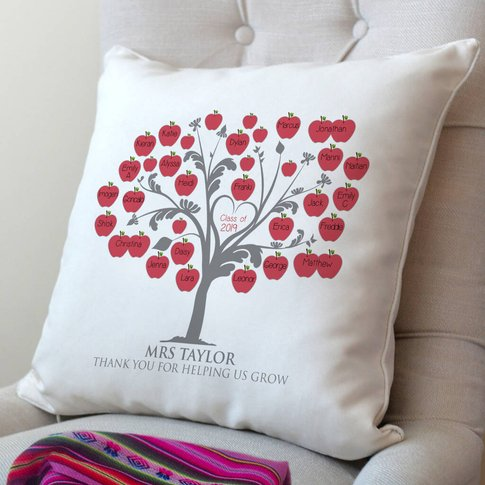 Personalised Class Teacher's Cushion, Red/Green