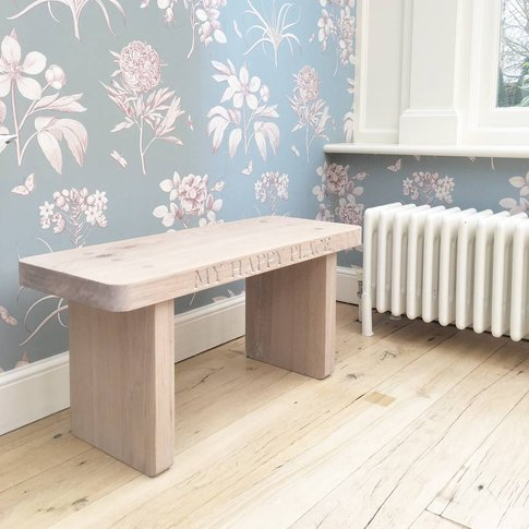 Personalised Whitewash Solid Oak Bench