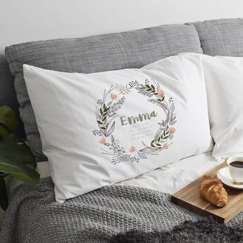 Personalised 'Flower Wreath' Pillow Case