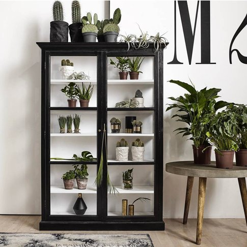 Double Black Wood Cabinet