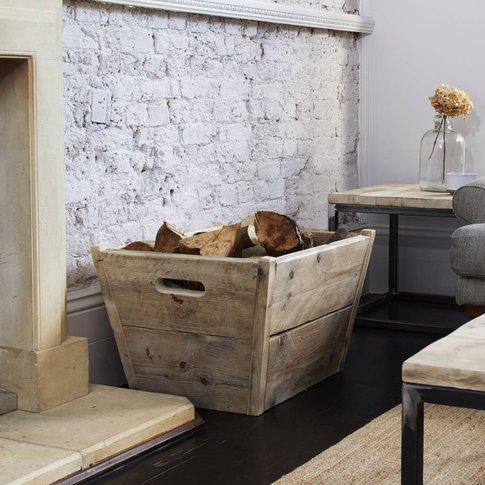 Reclaimed Wood Log Storage Box