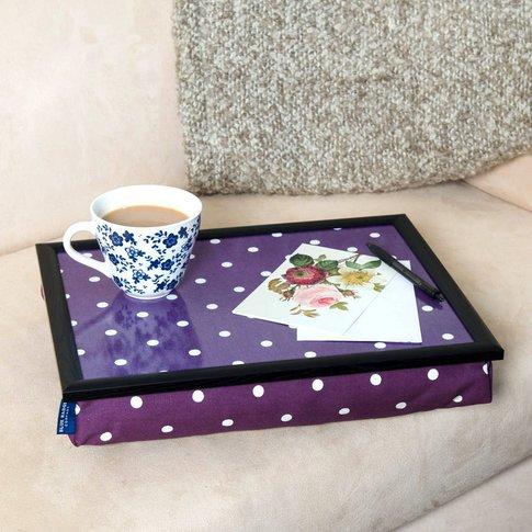Bean Bag Cushioned Lap Tray In Purple Polka Dot