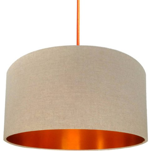 Oatmeal Linen Lampshade With Copper Or Gold Lining