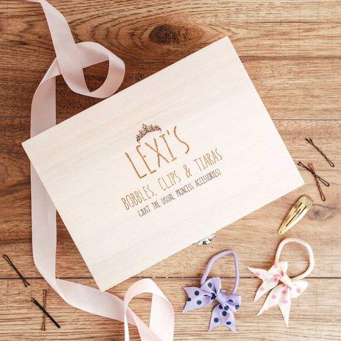 Personalised Girls Hair Accessories Storage Box