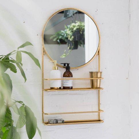 Gold Or Silver Circular Bathroom Mirror With Shelves