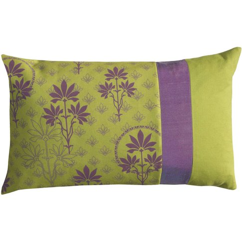 Lime And Purple Patchwork Oblong Cushion Cover