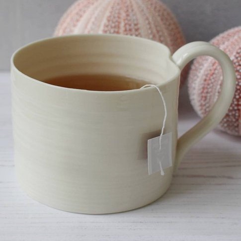 Hand Thrown Porcelain Straight Sided Mug, Cream/Turq...