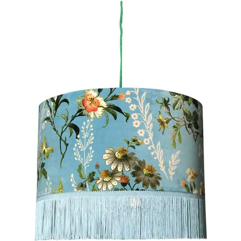 Flora X Fauna Floral Velvet Lampshade In Duck Egg Blue