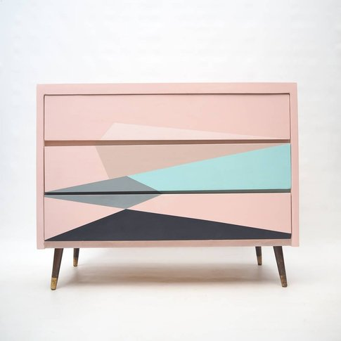 Mid Century Geometric Hand Painted Chest Of Drawers