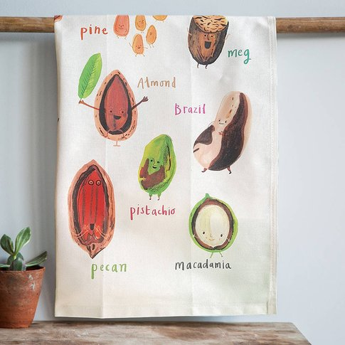 'Nuts' Illustrated Food Tea Towel