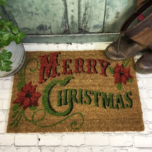 Merry Christmas Traditional Coir Doormat
