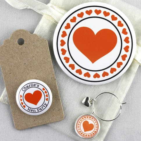 Six Hen Party Mirror And Wine Charm Favours