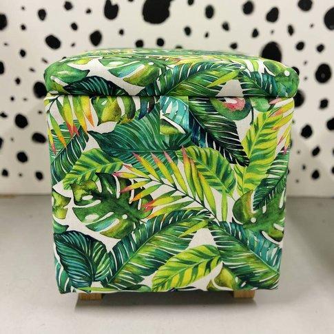 Banana Leaf Print Storage Ottoman
