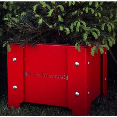 'It's Christmas' Festive Metal Planter, White/Red