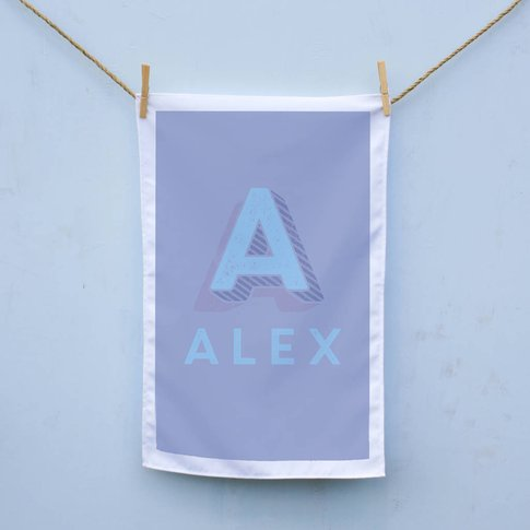 Personalised Carnival Letter Tea Towel, Royal Blue/B...