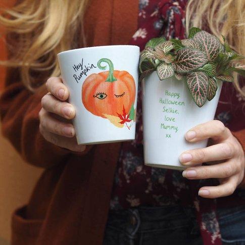 Halloween Plant Pot With Pumpkin Seeds