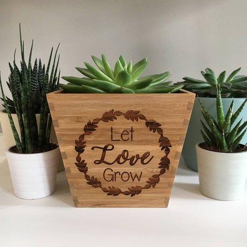 'Let Love Grow' Bamboo Plant Pot