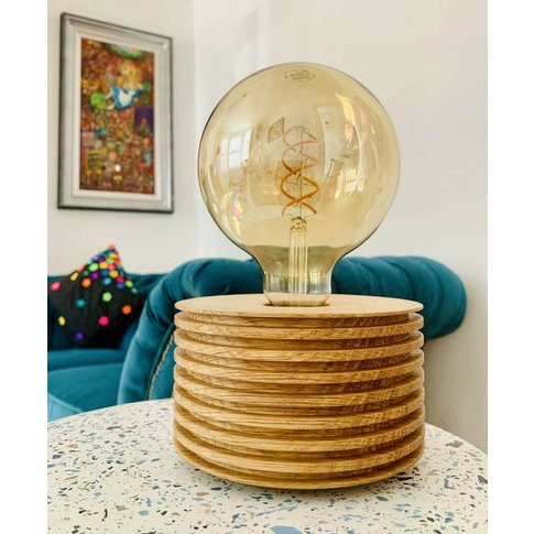 Hand Made Oak Table Lamp With Edison Bulb