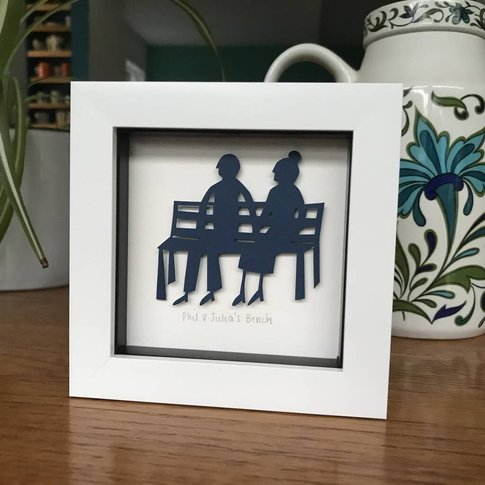 Personalised Framed Couples Bench Paper Cut Gift
