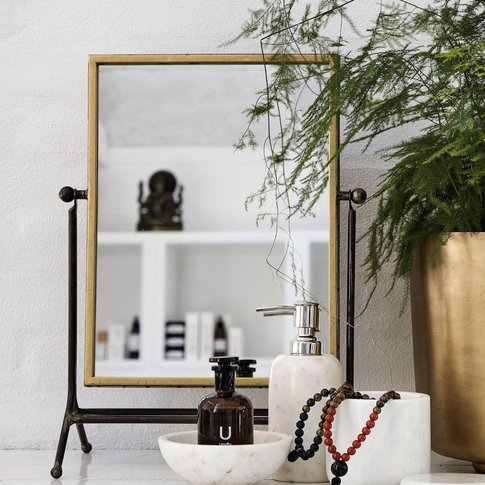 Gold Vanity Mirror On A Stand