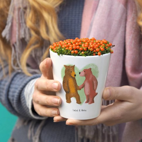 Personalised Bear Couple Plant Pot Gift
