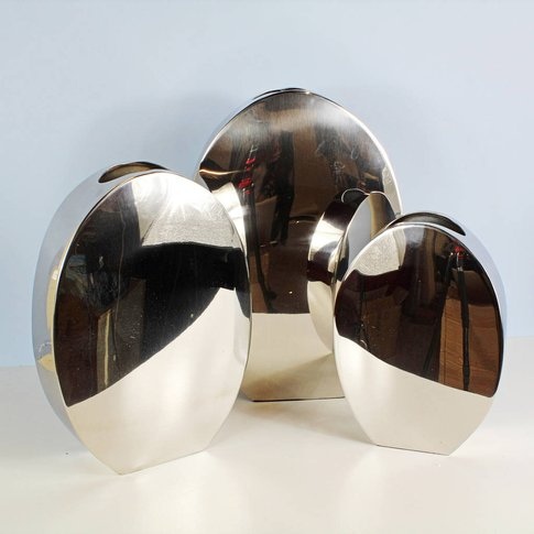 Silver Brass Vases By G Decor