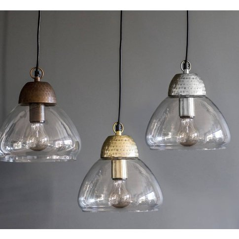 Etched Metal And Glass Pendant Lights, Silver/Gold