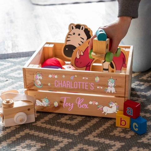 Personalised Unicorn Toy Box Crate