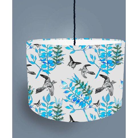 Botanical Bird Lampshade Light Grey