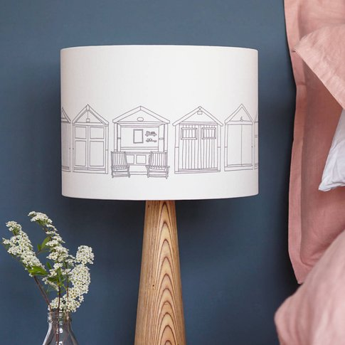 Beach Hut Drum Lampshade, Grey/White/Teal