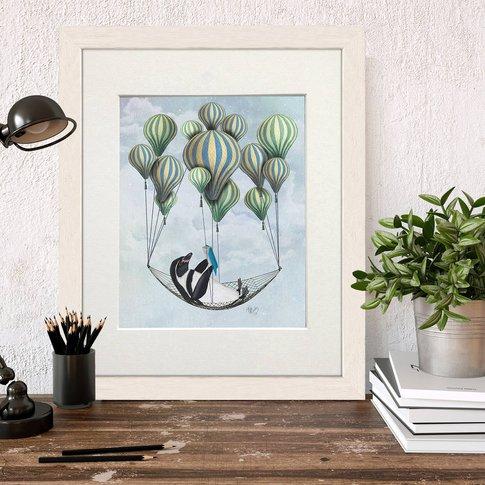 Penguin In Hammock Balloon, Art Print