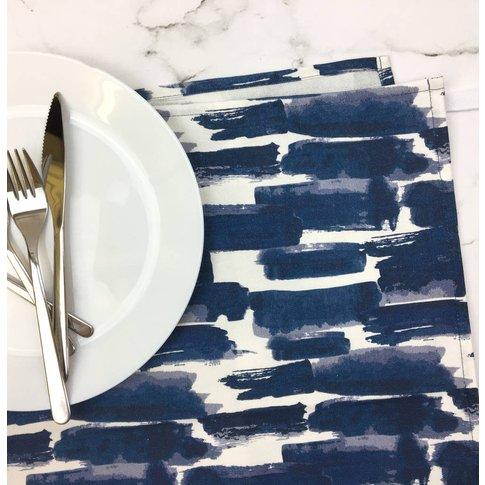 Paloma Tea Towel, Blue Abstract Pattern