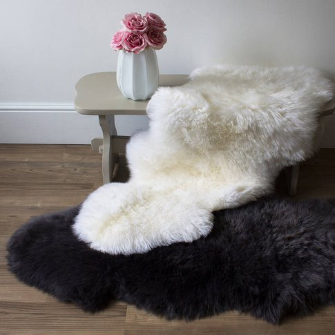 Luxurious Sheepskin Rugs Grey And Ivory, Charcoal/Gr...