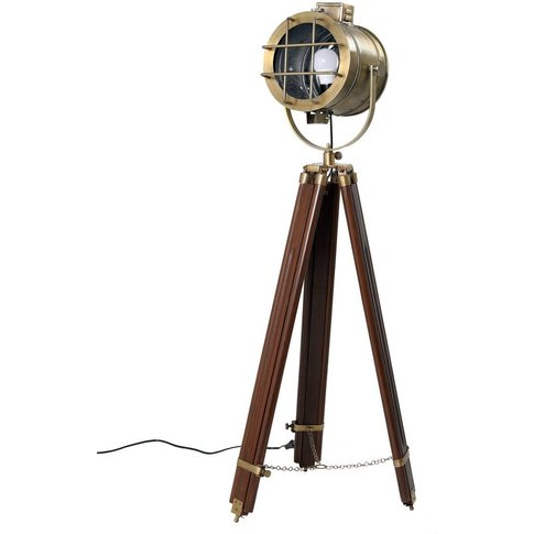 Nautical Searchlight Style Floor Lamp On Tripod