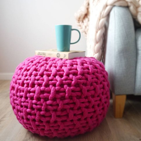 Chunky Knit Footstool In Pink Or Mustard, Pink/Mustard