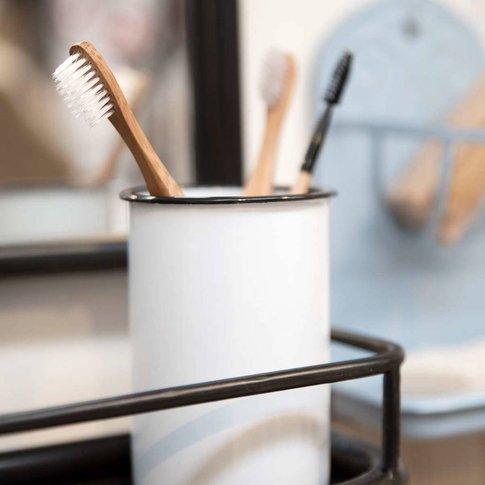 Vintage Enamel Toothbrush Holder