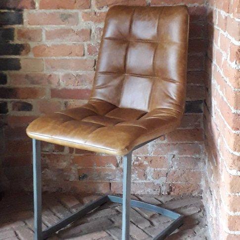 Vintage Italian Brown Leather Dining Chair Metal Legs