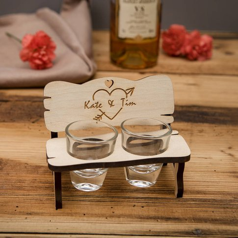 Personalised Bench With Shot Glasses For Couple
