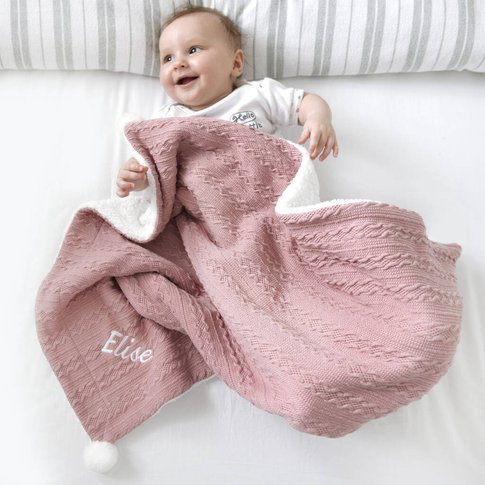 Personalised Dusty Pink Cable Knit Pom Pom Blanket