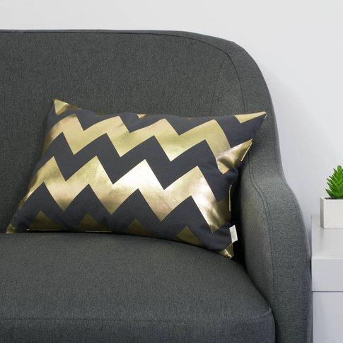 Metallic Chevron Cushion In Pewter Grey And Gold