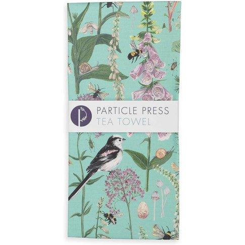 Longtail And Foxglove Floral And Bird Tea Towel