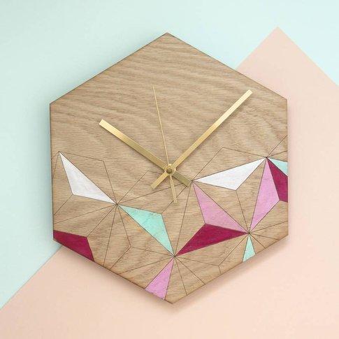 Mint And Blush Kaleidoscope Geometric Clock