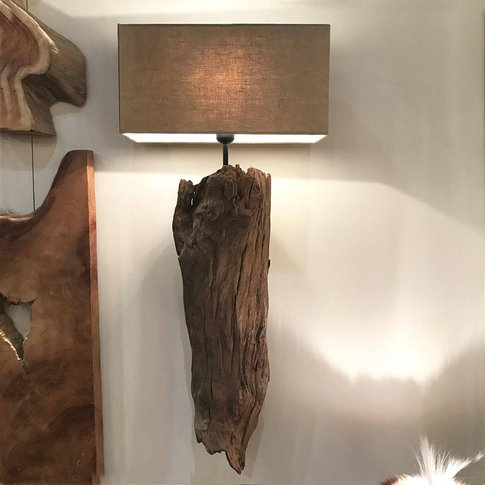 Tall Wood Single Wall Light Sconce And Shade