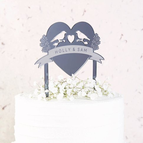 Bird Wedding Cake Topper Mirror
