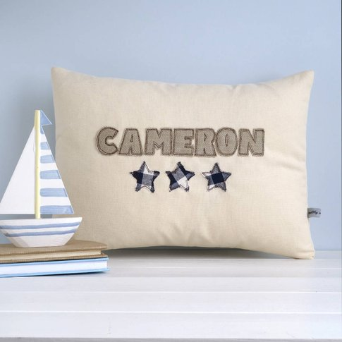 Personalised Name Cushion With Stars, Blue/Red/Lemon