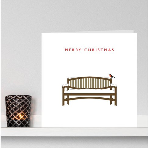 Pack Of Six 'Robin On A Snowy Bench' Christmas Card