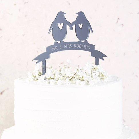 Penguin Wedding Cake Topper Mirror