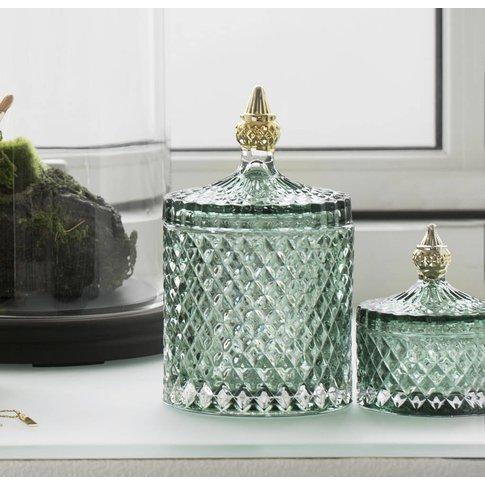 Pressed Glass Bathroom Storage Jar