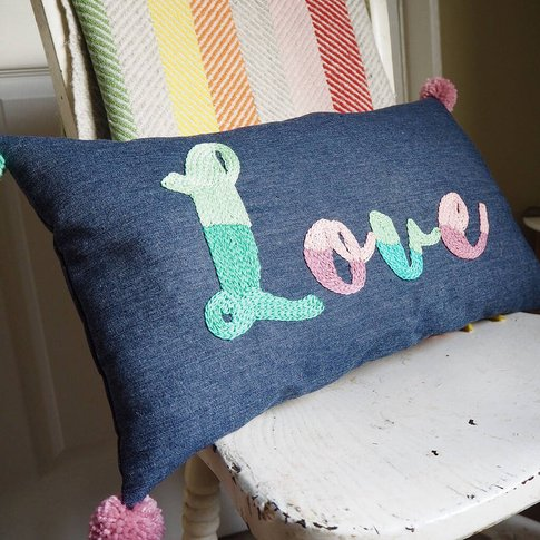Embroidered 'Love' Cushion